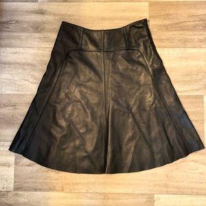 Siena studio 100% leather a line flare midi skirt